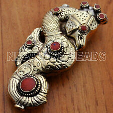 BD2026 Nepalese Handmade Sea Horse Solid Brass Coral Focal Bead Tibet Nepal