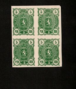 Finland 1889 Scott# 39 5p Deep GREEN imperf  Block Of Four  Stamps