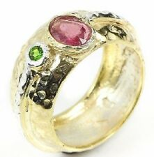 SIZE 7.25 New Handmade Fine Art Red Pink Ruby Green 925 Sterling Silver Ring