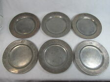 Wilton Armetale RWP Pewter Plough Colonial Set of Plates 10 1/2 inch 6 piece