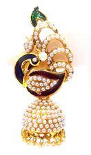 PEACOCK Meenakari Minakari Enamel Jhumka Handpaint Earring Jewelry Drop Long E46