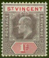 St Vincent 1904 1d Dull Purple & Carmine SG86 Ordin Paper Fine Mtd Mint.