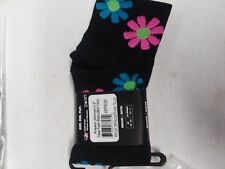 3 Pack DeFeet Women's AirEator 2in Flower Power Black Cycling/Running Sock Sm