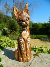 Wooden Cat Carving - Standing Shabby Chic Cat Ornament - Ginger 50cm