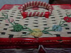 VINTAGE+WICKER+SEWING+BASKET+Small+Red+and+White+Japan+Embroidered+So+Sweet