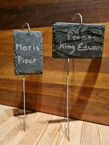 5 Natural Slate Garden Plant Markers Label Tags Stakes Herbs Vegetables PORTRAIT