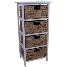4 WICKER DRAWERS CHEST UNIT BEDSIDE TABLE BATHROOM STORAGE WOODEN BASKET HOME