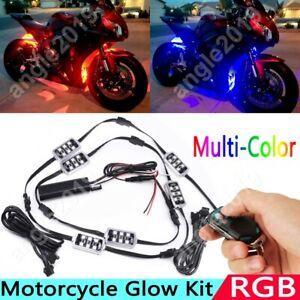 6x RGB 36LED 5050 Motorcycle Underbody Glow Neon Light Strip Remote Control Kit