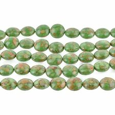 1 strand Magnesite Stone Beads Variegated GREEN COIN CIRCLE Round . 12mm gmx0004