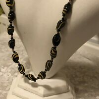 Vintage Glass Necklace 1980s Yellow Black Glass Beads Beaded Screw Clasp 20inch