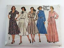Vogue Pattern1923 Basic Design Size 12 Blouson Flared Dress Ascot Shirt Uncut