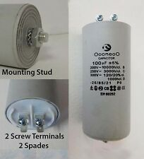 100 MFD 250 Volt Run capacitor w/ mounting stud