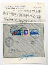 REGNO  2.6. 1933 Trittici Crociera su busta I-LONG, Certif. COLLA