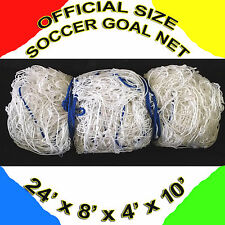2 white OFFICIAL SIZE SOCCER GOAL NETS NETTING  24' x 8' x 4' x 10'