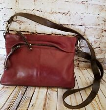 Tignanello Crossbody Shoulder Bag Leather Two Tone Brown Red Purse Medium