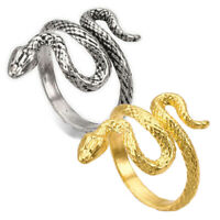 Alloy Cuff Finger Ring Snake Antique Silver Size 8 Adjustable 18mm P439
