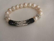 White Cultured Pearl Stretch Bracelet with Diamante/Rhinestone beads Sparkly