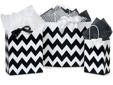 125 Paper Shopping Bags Black Chevron Gift Bags Eco-Friendly All Occasion Gifts