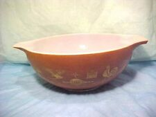 Vintage Pyrex Brown & Gold 4 qt. nesting mixing bowl 37 Early American #444