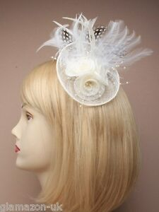 Fascinator Ivory Cream with Hessian Rosette & Feather Weddings Races Proms