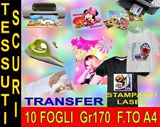 10 FOGLI A4 170 GR CARTA TRANSFER FOTOGRAFICA TESSUTI SCURI STAMPA INKJET