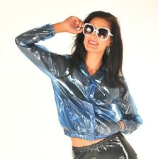 NEW TOP QUALITY PVC BOMBER JACKET STYLE FESTIVAL RAINCOAT CLEAR BLUE EXTRA LARGE