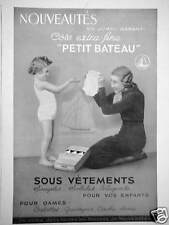 PUBLICITÉ PETIT BATEAU SOUS VÊTEMENTS CÔTE EXTRA-FINE POUR ENFANTS ET DAMES