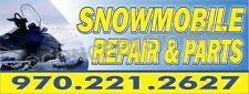 3'X8' SNOWMOBILE REPAIR & PARTS BANNER Signs BIG CUSTOM PHONE NUMBER Skidoo Shop