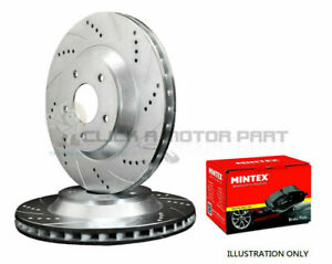 MINI ONE COOPER S 01-06 FRONT DRILLED BRAKE DISCS AND MINTEX PADS + SENSORS