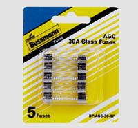 Bussmann Buss 30 amps 32V AGC Automotive Fuse Glass Tube 5pk BP/AGC-30-RP NEW!!!