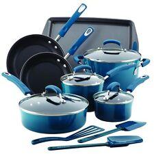 Cookware Nonstick Rachael Ray Hard Enamel 14-Piece Set, Marine Blue, Durable