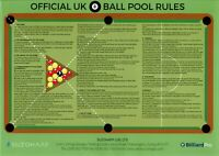 Official British 8 Ball English Pool Table Room 1-9 Rules Sheet