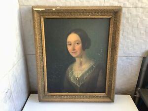 Tableau ancien portrait de femme à restaurer