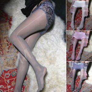 Plus Size Women Shiny Glossy Sheer Stockings with Lace Panties Tights Pantyhose