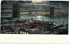 NEW YORK CITY – Brooklyn Bridge at Night – udb – mailed 1908