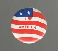 "Vintage I Love America Flag Button Pin 2"" Metal Heart Kipp Brothers Patriotic"