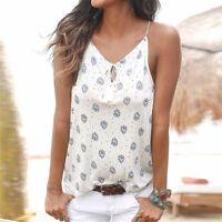 Mujer Sexy Verano Camiseta Sin Mangas Estampada Camisa Playa De Tirantes Blusa