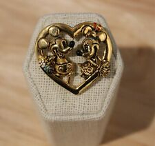 Vintage Disney Napier Heart With Mickey & Minnie Mouse Gold Tone Valentine Love
