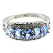 Charming Rich Blue Violet Tanzanite CZ Woman's Gift Silver Ring 9.0