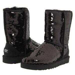 UGG Australia Classic Short Sparkles 3161 Black Sequin Winter Boots 5 6 7 8