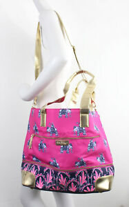 Lilly Pulitzer NWD Pink Blue Purple Elephant Print Extra Large Tote Weekend Bag