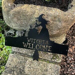 Halloween Witches Welcome - Metal Wall Art