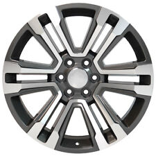 "22"" GMC YUKON SIERRA SUV FACTORY STYLE MACHINED GUNMETAL 4 NEW WHEELS 4741A"