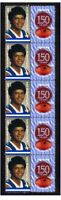 WAFL 150 YEARS OF FOOTBALL STRIP OF 10 MINT VIGNETTE STAMPS, EAST FREMANTLE 1
