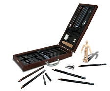 ARTIST PREMIER DELUXE SKETCHING & DRAWING PENCILS WOODEN CASE SET SKET2020