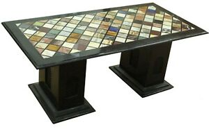 """4'x2' Black Marble Dining Table Mosaic Multi Stone Inlay Art With 16"""" Stand B681"""