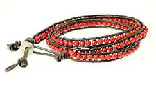 Brown Double Leather Cord & Coloured Bead Wrap Around Leather Bracelet Surfer