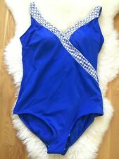 ROXANNE Bathing Suit Size 18 Tall 42D NWOT Blue Silver White Adjustable Straps