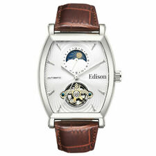 SALE Men's Automatic Edison Watch, Silver Colour Casing, Genuine Leather Strap