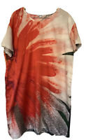 Meredith 18 Abstract Floral Tunic Dress Silk Cotton Blend